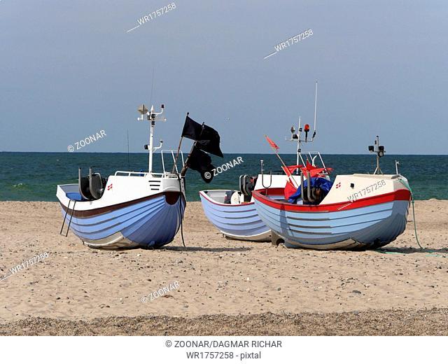 danish fishingboats on the beach