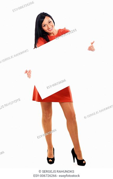 Beautiful caucasian woman with board isolated over white background