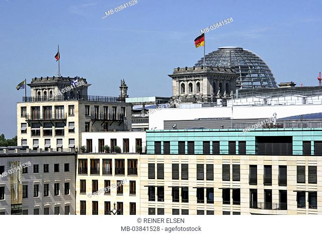 Germany, Berlin, Parisian place,  Eugen-Gutmann-Haus, facade, gaze,  Reichstag, detail, Reichstag dome, only editorially,  Capital, office buildings
