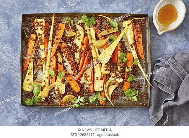 Sweet spiced carrot and pasnip tray bake