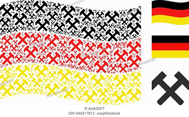 Waving German official flag. Vector hammers elements are placed into geometric German flag collage. Patriotic composition organized of flat hammers pictograms