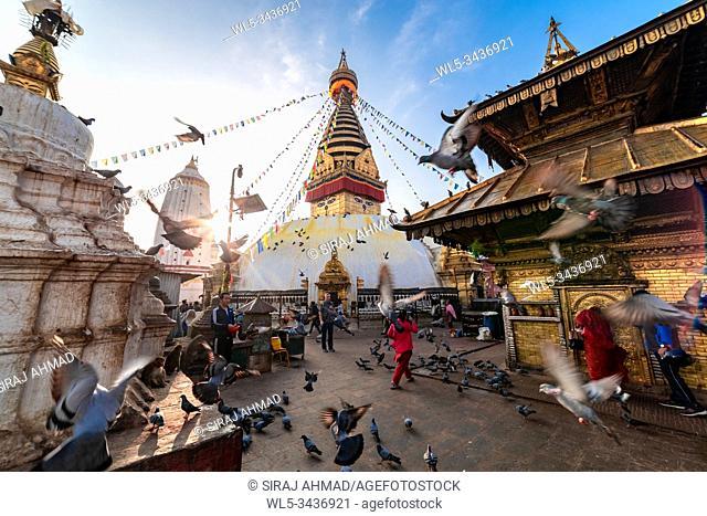 Kathmandu, Nepal - Sunrise morning view of Swayambhunath Stupa or Monkey Temple Buddhist Monastery in Kathmandu, Nepal. A UNESCO World Heritage Site