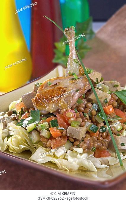 Quail and lentil salad