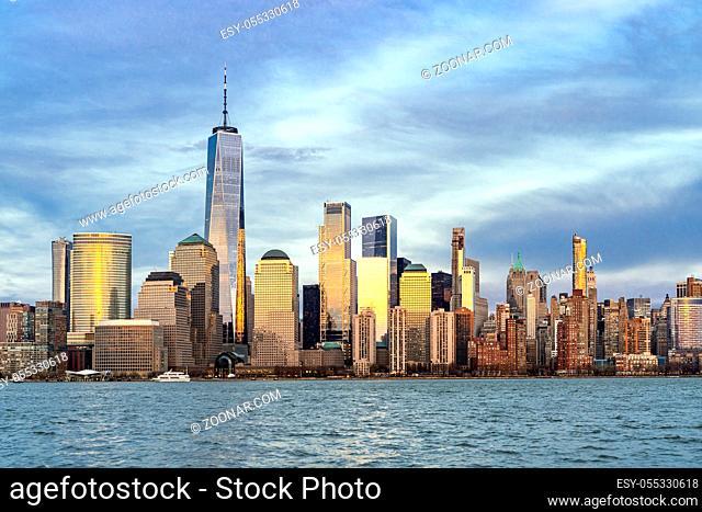 New York city Manhattan skyline cityscape at sunset from New Jersey
