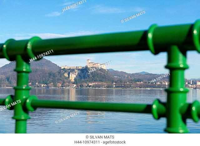 Castle Rocca Borromea di Angera on Lake Maggiore and railing in Lombardy, Italy