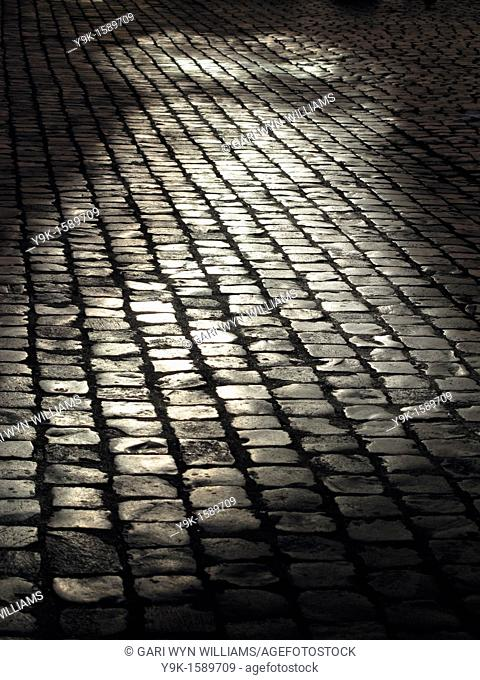 Empty street with cobbles in Rome, Italy