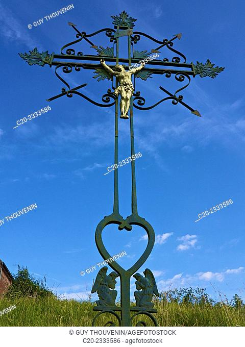Crucifixion, Christ on cross calvary, in countryside, Normandy, France