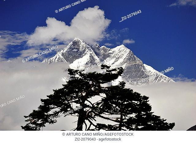 Lhotse peak is the fourth highest mountain on Earth, 8, 516 mts., Sagarmatha National Park, the Himalaya range, Khumbu area, Solukhumbu District