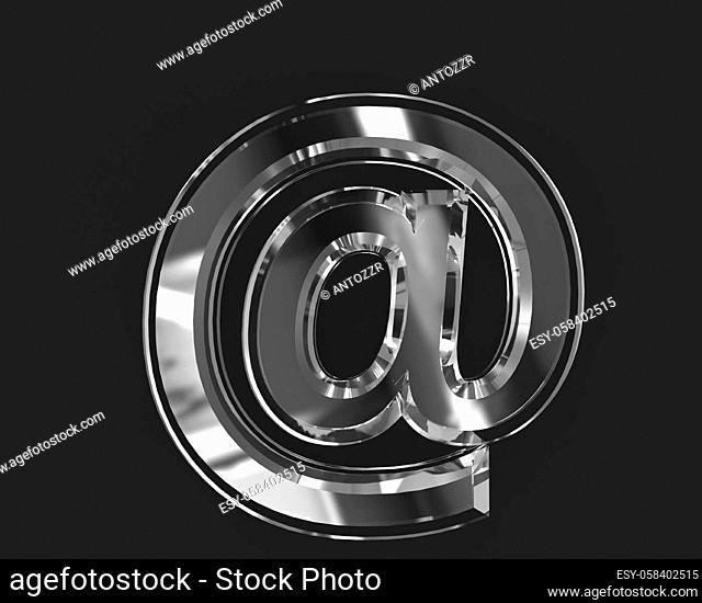 White shiny reflective crystal font - at sign isolated on dark, 3D illustration of symbols