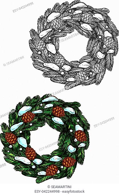 Christmas wreath vector icon. Traditional wreath sketch of fir branches, pinecones. Isolated christmas classic wreath symbols for new year greeting card design