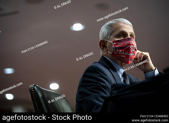 Anthony Fauci, director of the National Institute of Allergy and Infectious Diseases, wears a face covering as he listens during a Senate Health, Education