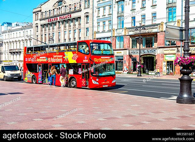 Saint Petersburg, Russia - August 10, 2018: Red bus City Sightseeing parked up at the Nevsky Prospe?t