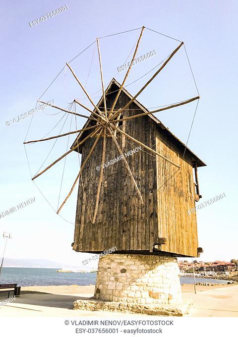 Nesebar, Bulgaria: Old windmill in the ancient town of Nesebar in Bulgaria
