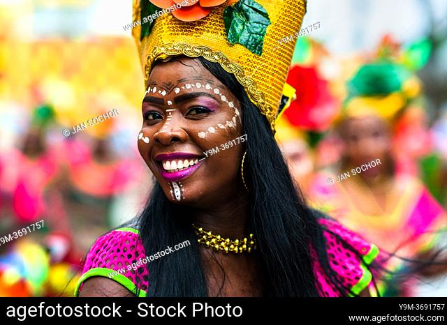 An Afro-Colombian dancer of the Pandeyuca neighborhood performs during the San Pacho festival in Quibdó, Colombia, 29 September 2019