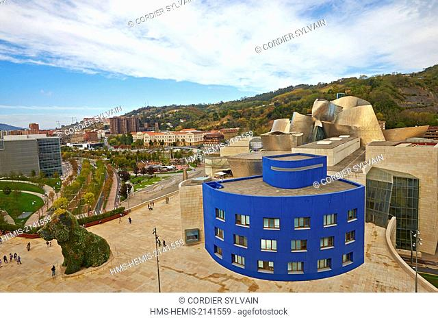 Spain, Biscay, Basque Country Spain, Bilbao, Guggenheim Museum opened in 1997 in the Canadian-American architect Frank Gehry seen from the terrace of Silken...