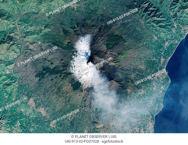 Satellite view of Eruption at Mount Etna, Sicily. This image was taken on December 3, 2015 by Landsat 8 satellite