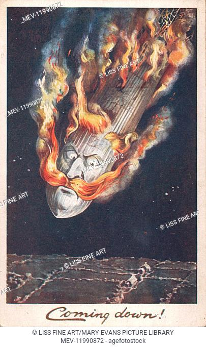 British postcard, Coming down! Depicting a German airship with the face of Kaiser Wilhelm, plunging to earth in flames