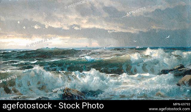 Surf on Rocks. Artist: William Trost Richards (American, Philadelphia, Pennsylvania 1833-1905 Newport, Rhode Island); Date: 1890s; Medium: Oil on board;...