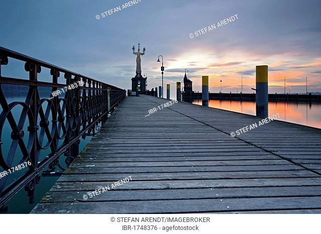 Konstanz harbour with Imperia statue in the early morning, Lake Constance, Baden-Wuerttemberg, Germany, Europe