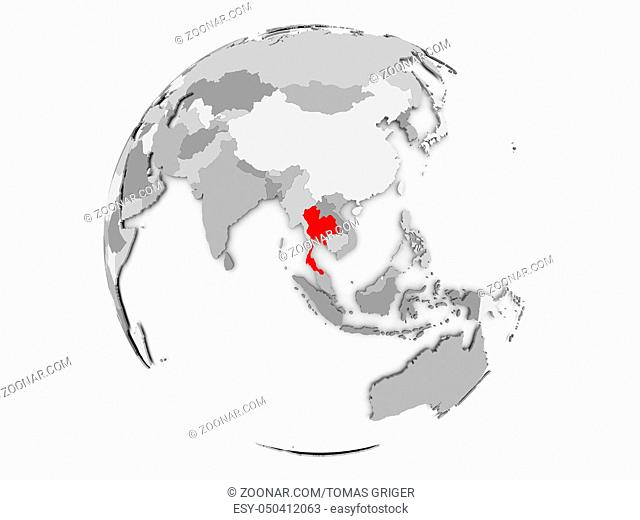Thailand highlighted in red on grey political globe. 3D illustration isolated on white background