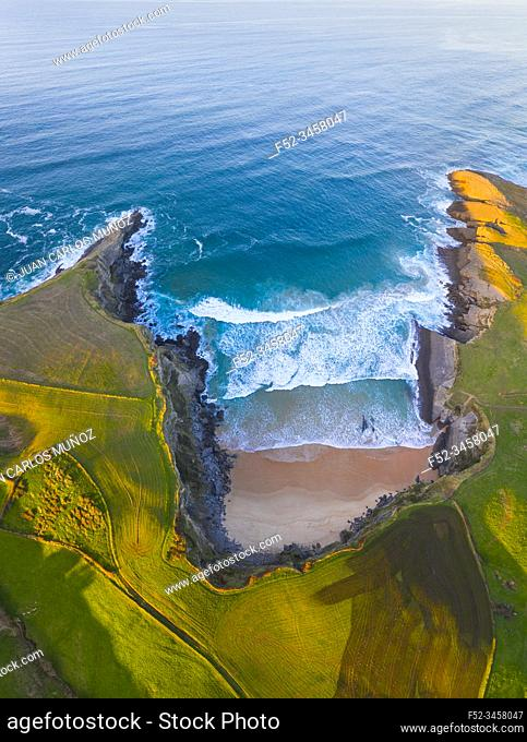 Aerial view of Antuerta beach, Ajo, Bareyo Municipality, Trasmiera Coast. Cantabrian Sea, Cantabria, Spain, Europe