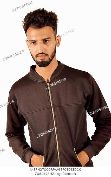 Handsome boy In black jacket In front of camera, Pune, Maharashtra