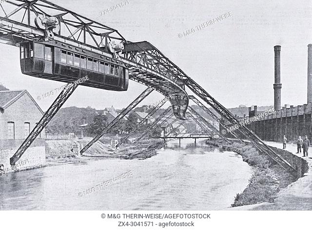 Wuppertal-Barmen-Elberfeld Suspension Railway, Ruhr region, Germany, Picture from the French weekly newspaper l'Illustration, 20th October 1900