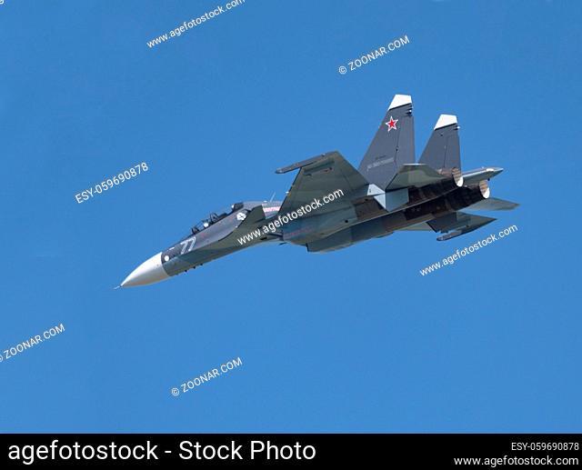 Moscow Russia Zhukovsky Airfield 31 August 2019: aerobatic Su-30 perfoming demonstration flight of the international aerospace salon MAKS-2019