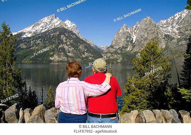 Senior Couple Enjoying View in Grand Tetons
