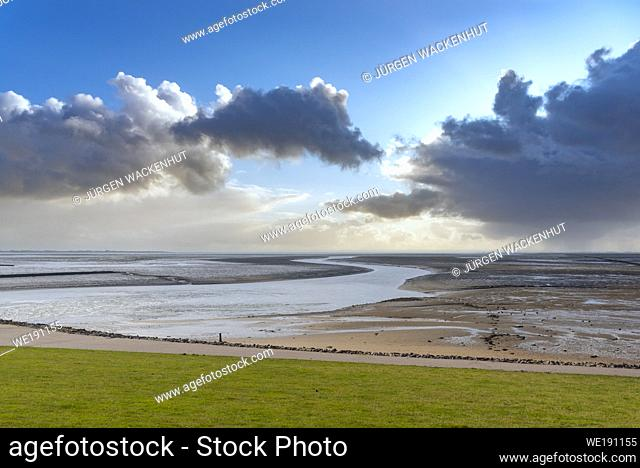 Mud Flats by Luettmoorsiel, Reussenkoege, Schleswig-Holstein, Germany, Europe