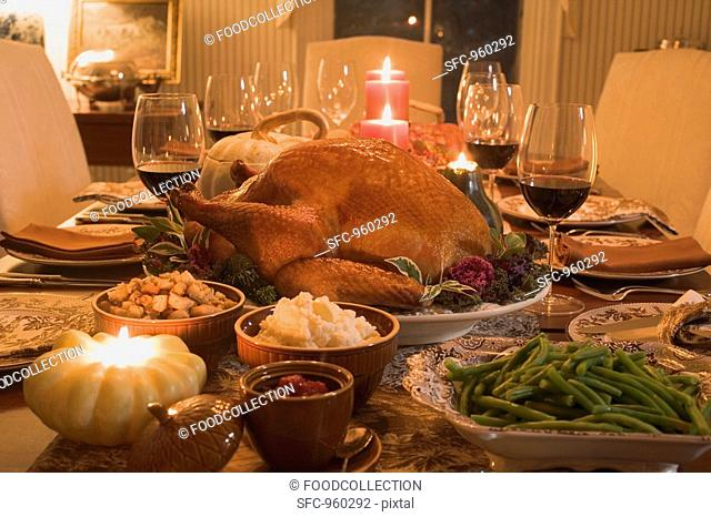 Stuffed turkey with accompaniments for Thanksgiving USA