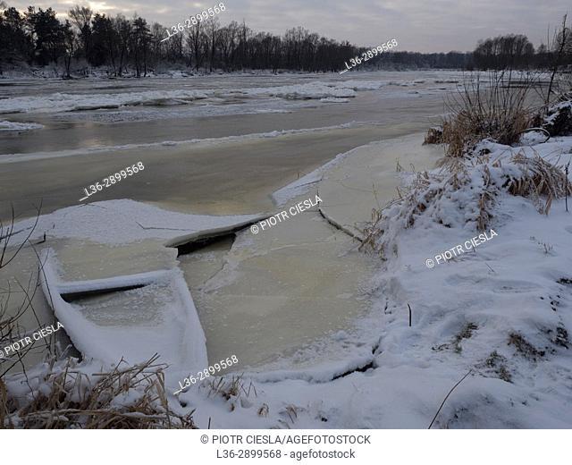 Poland. Winter. Podlasie (Podlachia) region. Bug river