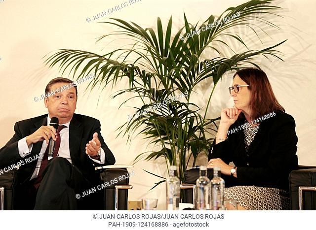 Madrid Spain; 10/09 / 2019.- Luis Planas.Cecilia Malmström European Commissioner for Trade, participates with Luis Planas Minister of Agriculture