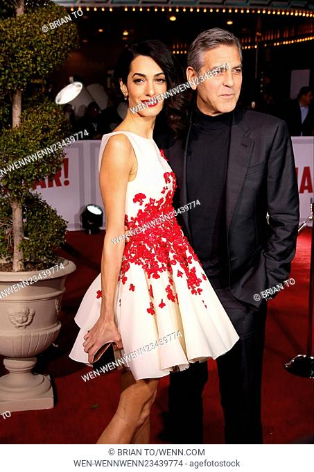 """Celebrities attend Premiere Of Universal Pictures' """"""""Hail, Caesar!"""""""" at Regency Village Theatre Los Angeles. Featuring: Amal Clooney"""