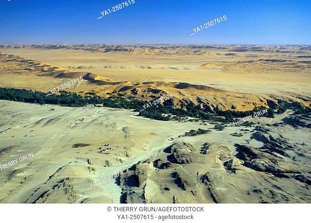 Aerial view of Kuiseb valley and river at Natab, Namibia, Africa