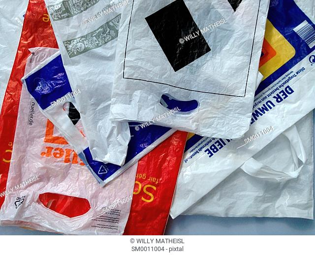 various plastic shopping bags