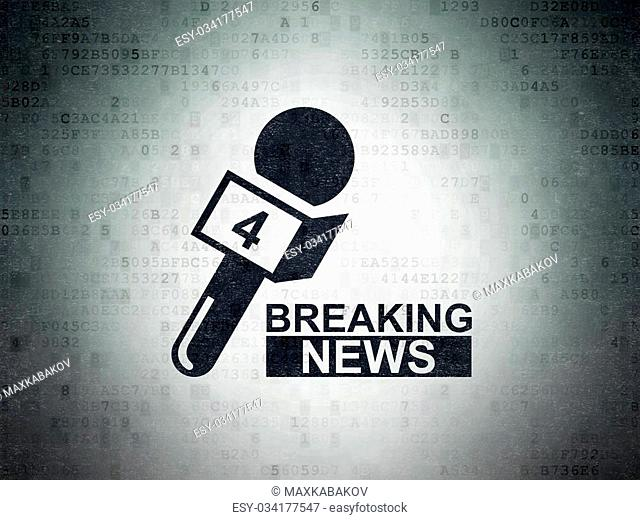 News concept: Painted black Breaking News And Microphone icon on Digital Paper background