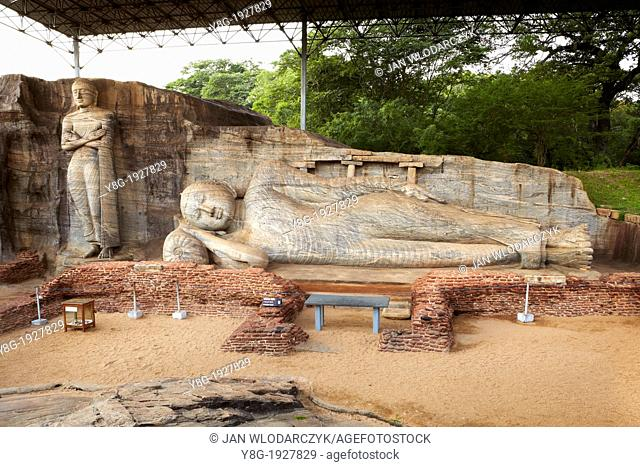 Sri Lanka - Gal Vihara Temple, buddha stone statue, Ancient City area, ruins of ancient Royal Residence, Polonnaruwa, town, old capital city of Sri Lanka