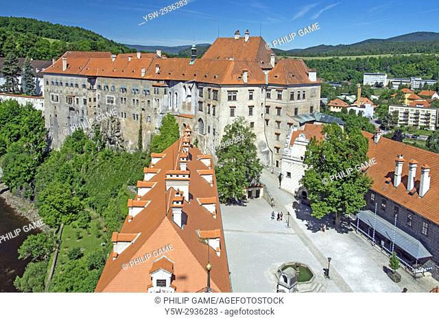 Looking along the long axis of the castle complex at Cesky Krumlov, Czech Republic