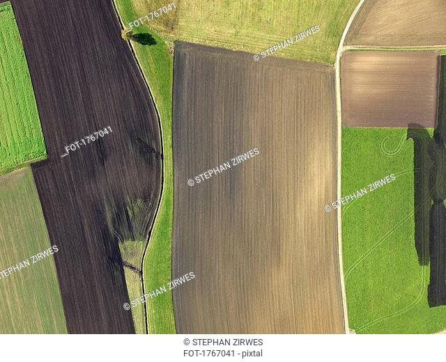 Aerial view green and brown agricultural fields, Donaueschingen, Baden-Wuerttemberg, Germany