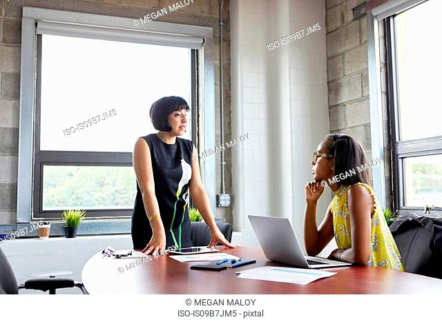Woman sitting at desk with laptop, talking to female colleague standing beside desk