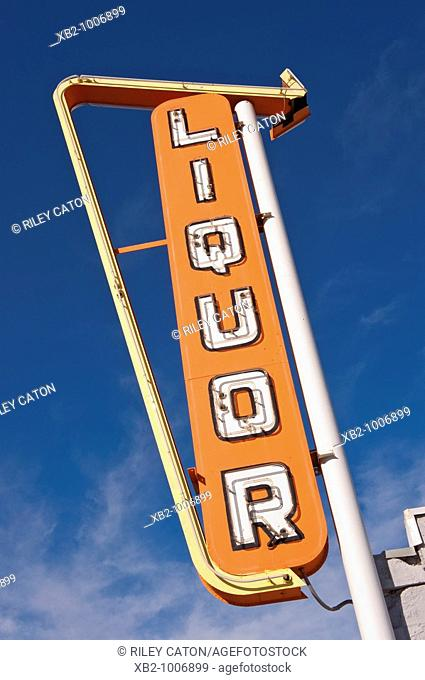 Route 66 - Vintage motel signs adorn the roadside of the US's famous 'mother road', Route 66
