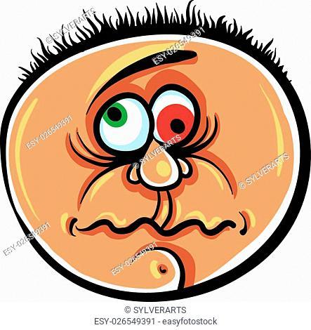 Wierd cartoon face, absolute crazy numskull portrait, vector illustration