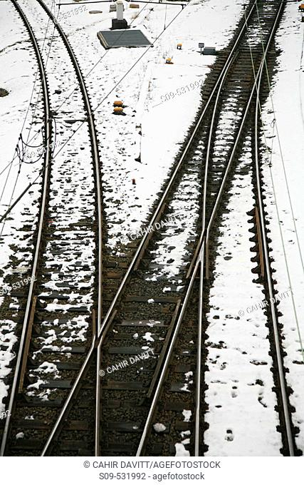 Railway line and junction leading from the Hamburg main railway station or Hauptbahnhof in Hamburg, Germany