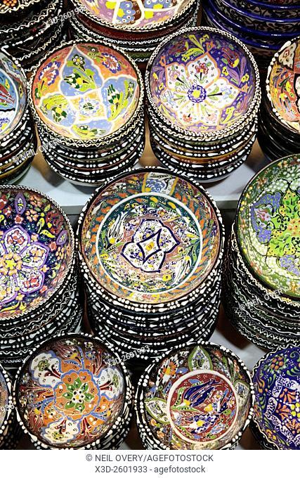 Colorful Turkish Ceramic Sourvenirs in Istanbul, Turkey