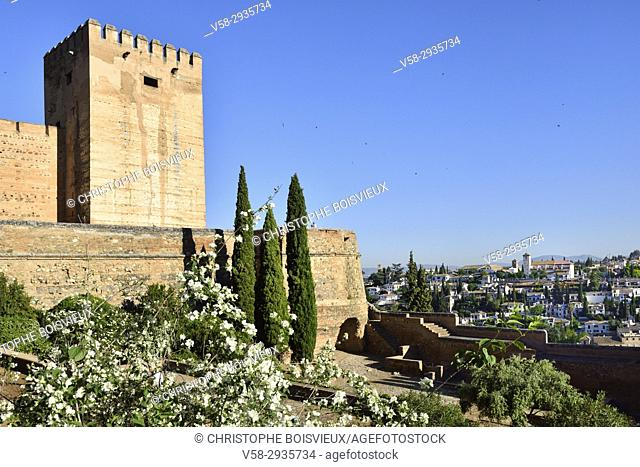 Spain, Andalusia, Granada, World Heritage Site, The Alhambra, The Alcazaba and Albaicin
