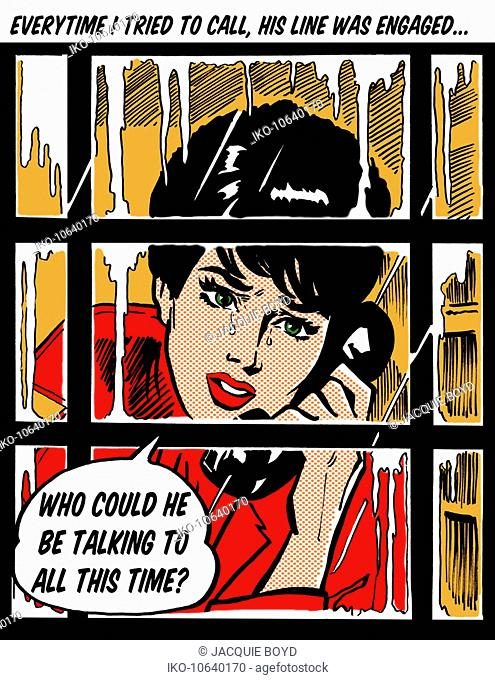 Crying woman in telephone box asking in speech bubble why her boyfriend's line is engaged