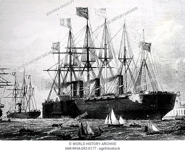 The Great Eastern leaving Sheerness carrying the cable for the French telegraph link across the Atlantic. Dated June 1869