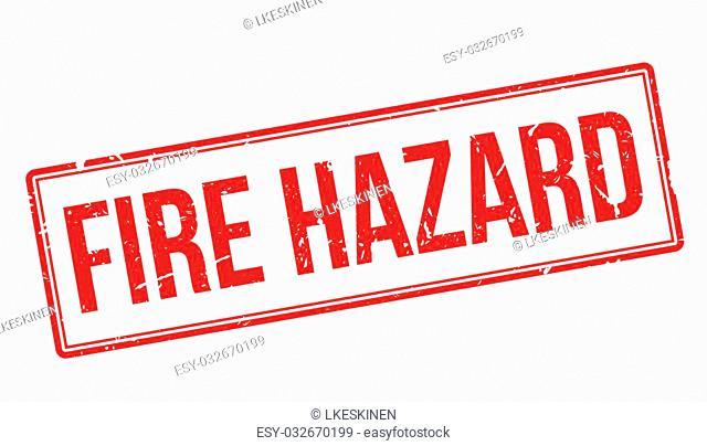 Fire Hazard rubber stamp on white. Print, impress, overprint