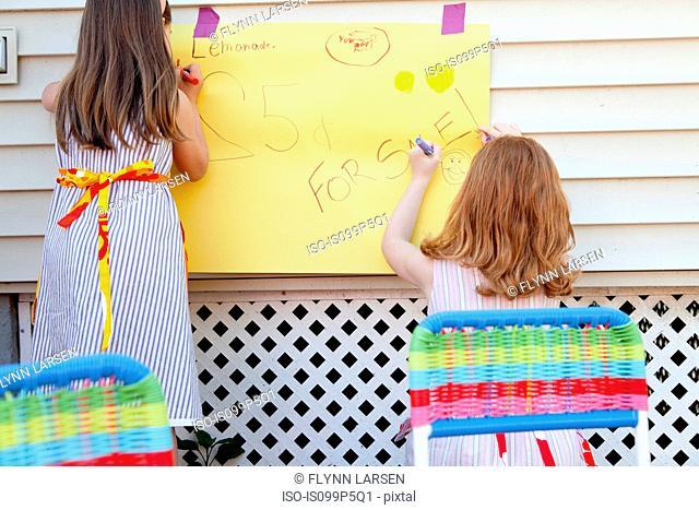 Girls making sign for selling homemade lemonade